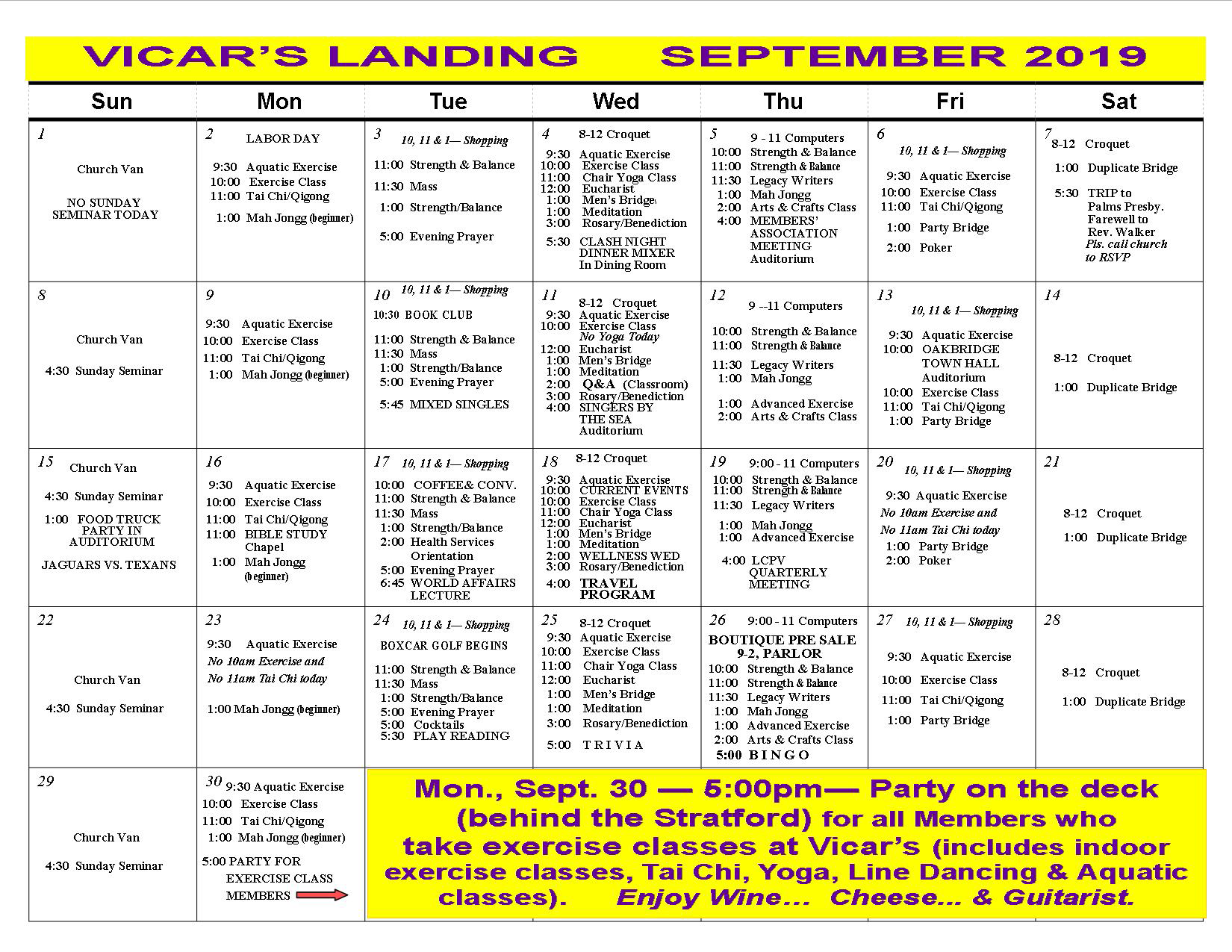 Events calendar - Vicar's Landing